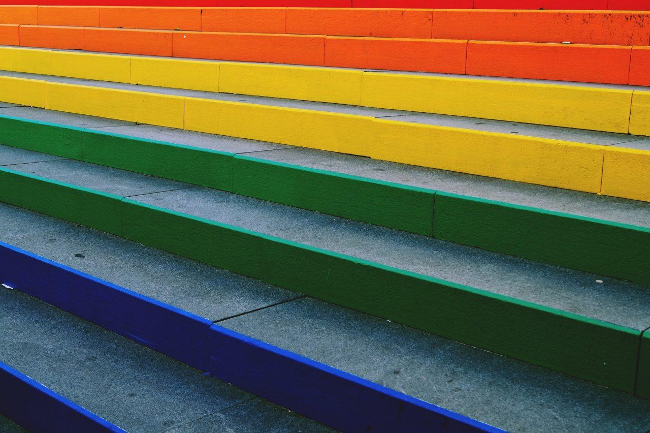 Farby, schody, krok, farebné