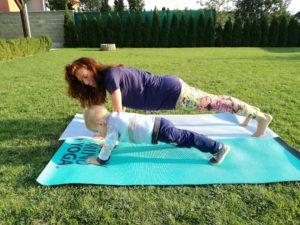 joga, deti, ženy, mamy, karimatka, príroda, vzduch, cvičenie,