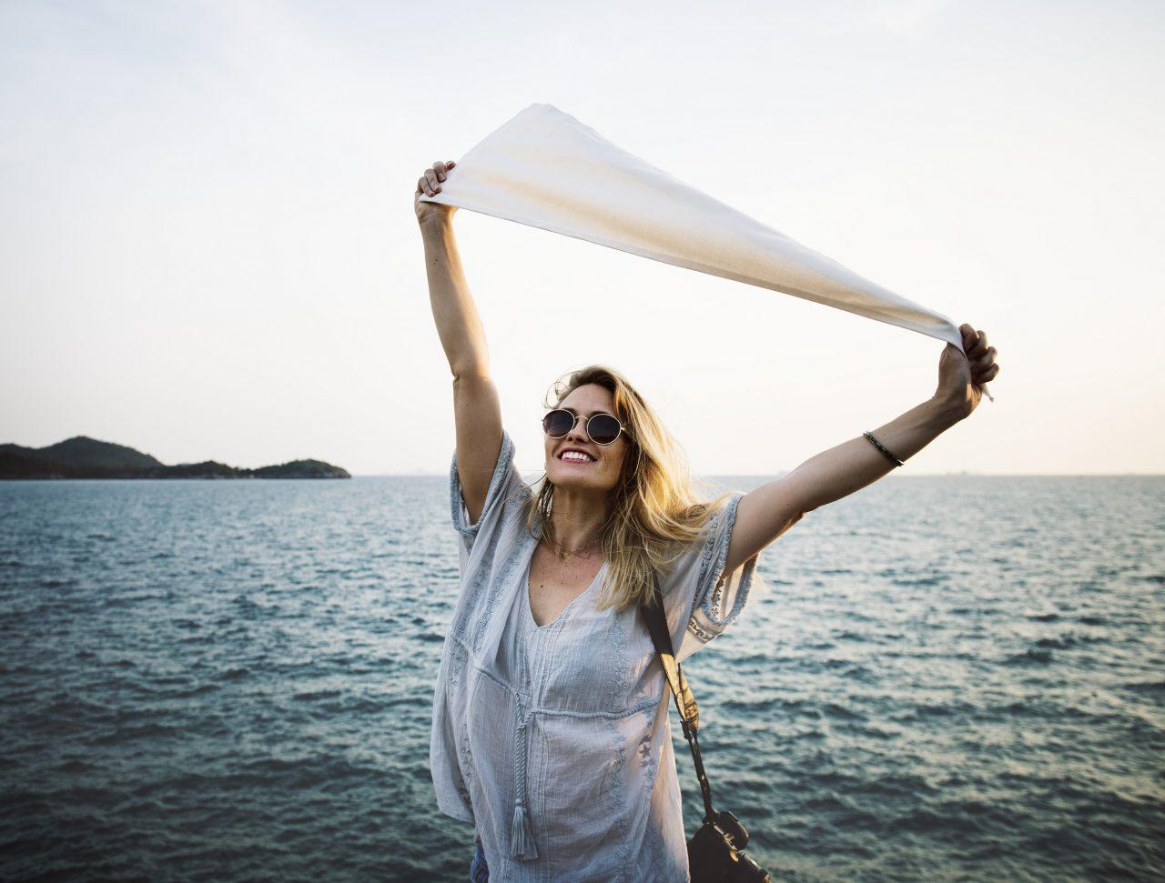 žena, šťastie, púpava, vzduch, život, voda, vietor,