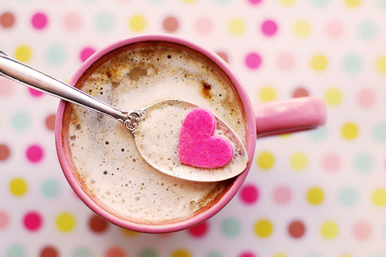 valentín, láska, srdiečka, káva