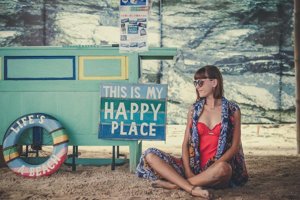 žena, šťastie, pokoj, harmónia, vyrovnanosť, pohoda
