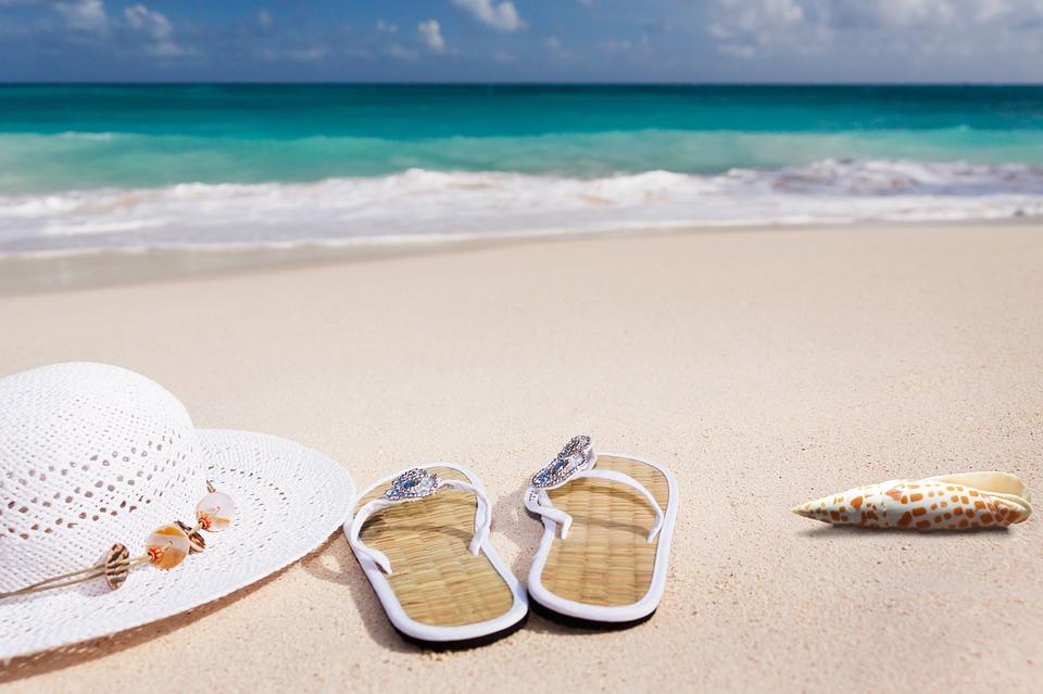 dovolenka, klobúk, slapky
